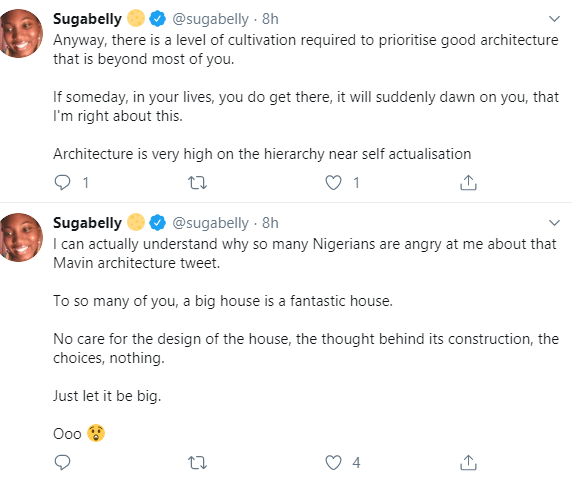 "Twitter users  call out Sugabelly for saying the ""Mavin buildings are so hideously ugly"""