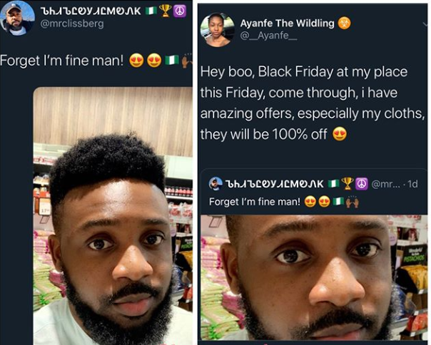 Lady shoots her shot at a 'fine man' on Twitter with a special #BlackFriday offer