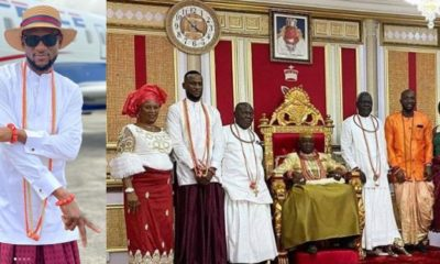 BBNaija's Omashola, Tuoyo and Kim Oprah visit Olu of Warri