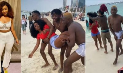 Esther engaging In 'Rough Play' with guys at Dubai beach (Photos)