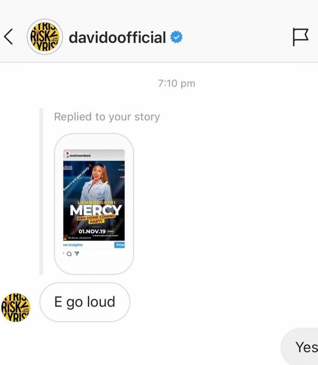"""E go loud""- Davido speaks on Mercy's homecoming party"