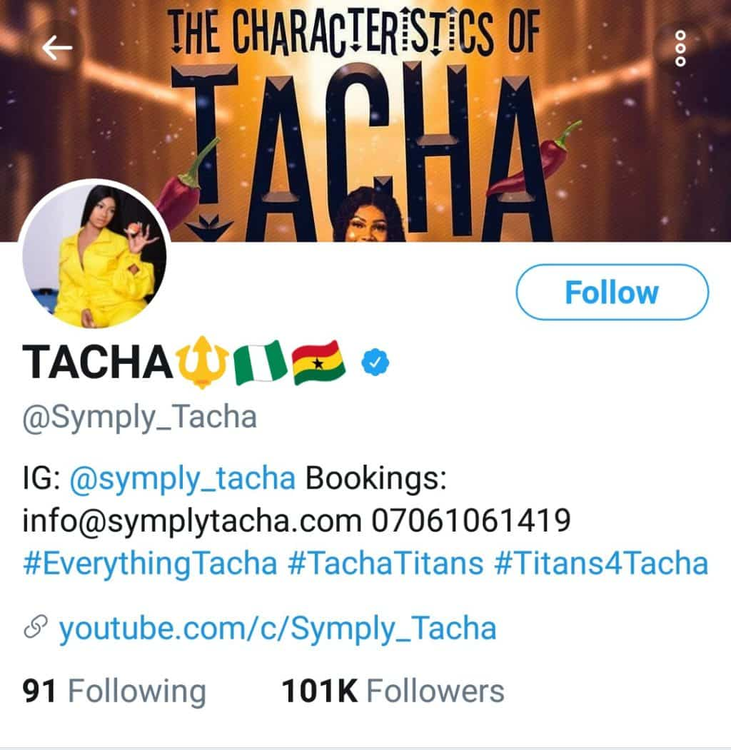 Tacha gets verified on Twitter, read what Titans did