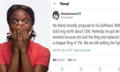 Man gets fiancee arrested after she sold and replaced ₦130k engagement ring with ₦15k ring