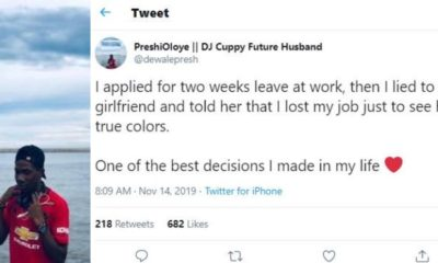 Man recounts how he lied to his girlfriend that he lost his job to see her true color