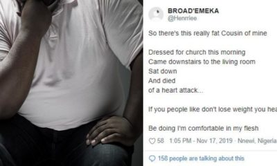 Nigerian man narrates how his cousin died of obesity