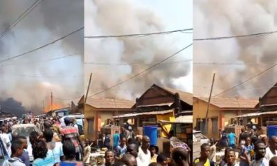 Pandemonium as fire guts buildings at Okobaba Plank Market, Ebute Metta (video)