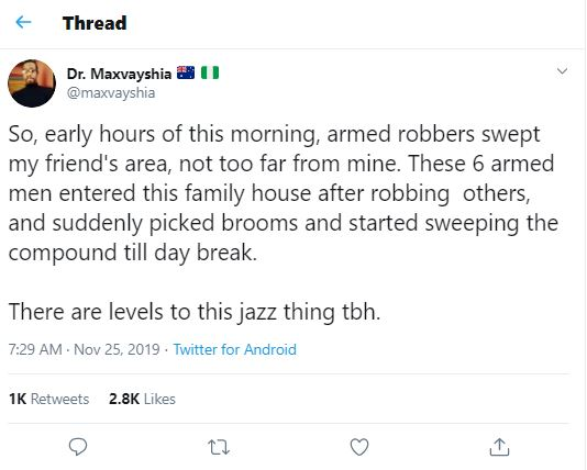 Nigerian man narrates how armed robbers swept a compound after robbing