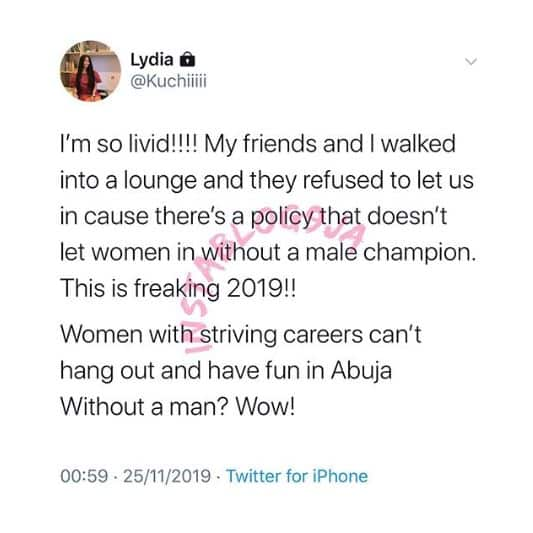 Lady denied access into an Abuja lounge for being without a man