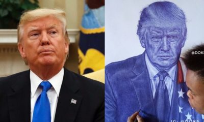 """Never give up,"" - Donald Trump replies Nigerian boy who drew his portrait"