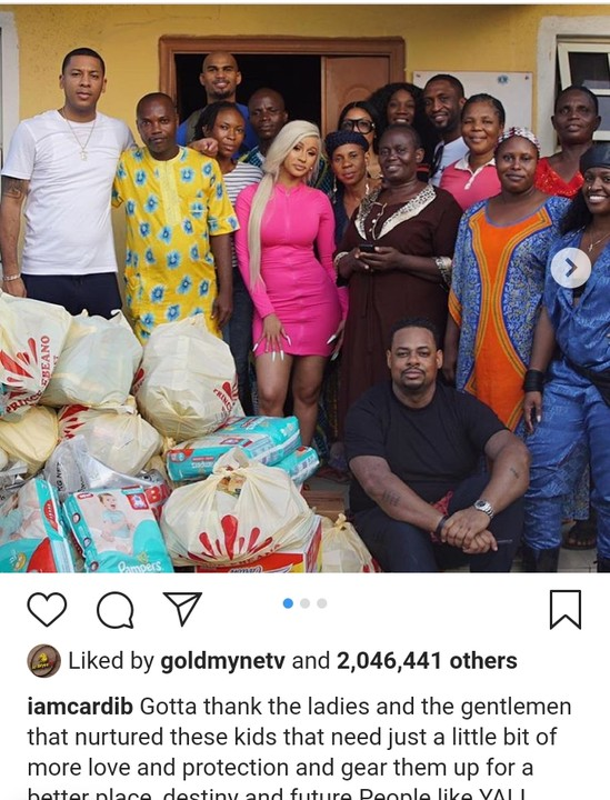 Cardi B buys provisions worth millions of naira as she donates to Lekki orphanage (Photos)