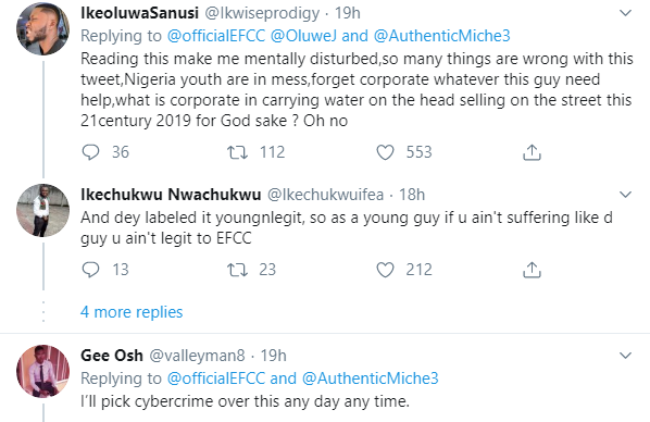Nigerians drags EFCC for celebrating man who dresses in corporate attire to sell water