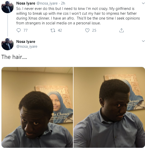 Lady threatens to break up with boyfriend over afro hairstyle