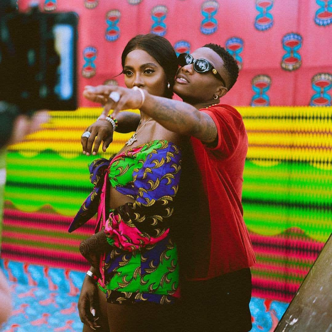 Tiwa Savage shares an adorable photo of Wizkid planting a kiss on her forehead