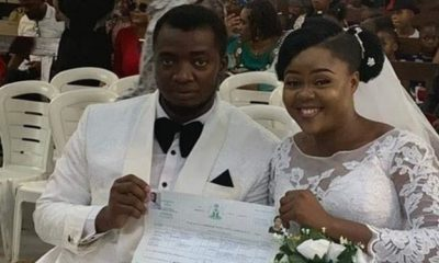 Couple wed with no reception, bridal train, groomsmen, best man & chief bridesmaid in Port Harcourt