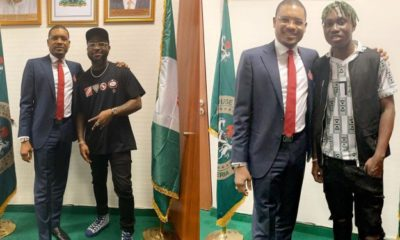 Davido and his crew visit House of Representative member Shina Peller (video)