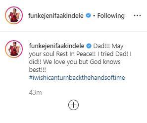Actress Funke Akindele loses dad