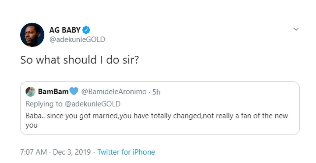 """""""Since you got married, you have totally changed""""- Fan tells Adekunle Gold, he responds"""