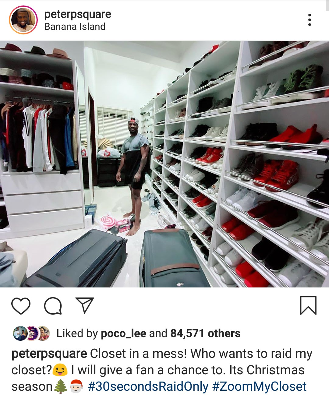 Peter Okoye shows off closet, offers one lucky fan 30seconds to raid it