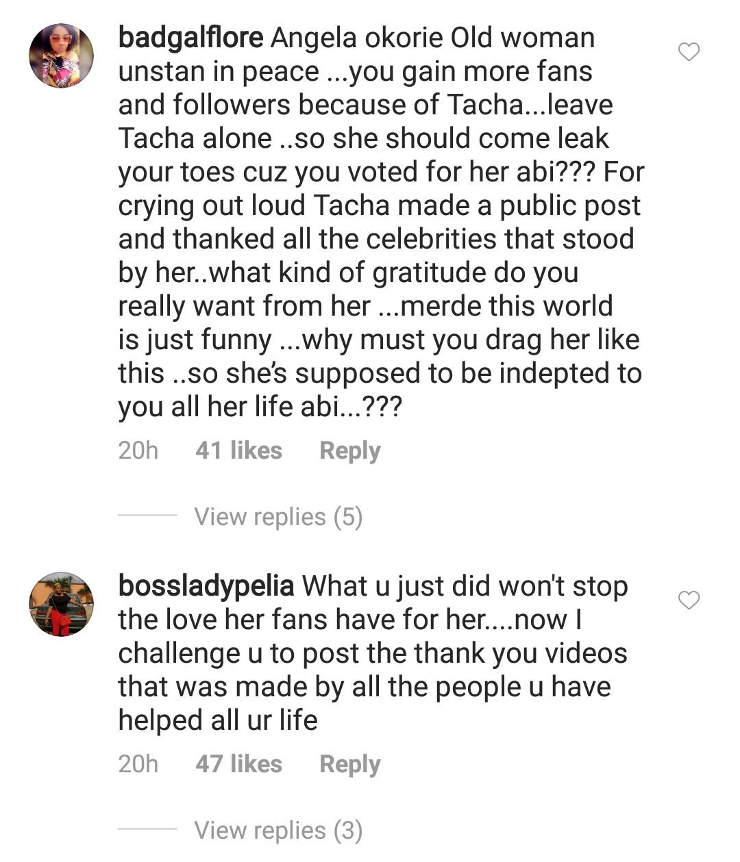 Titans slam Angela Okorie for dissing their Queen, Tacha