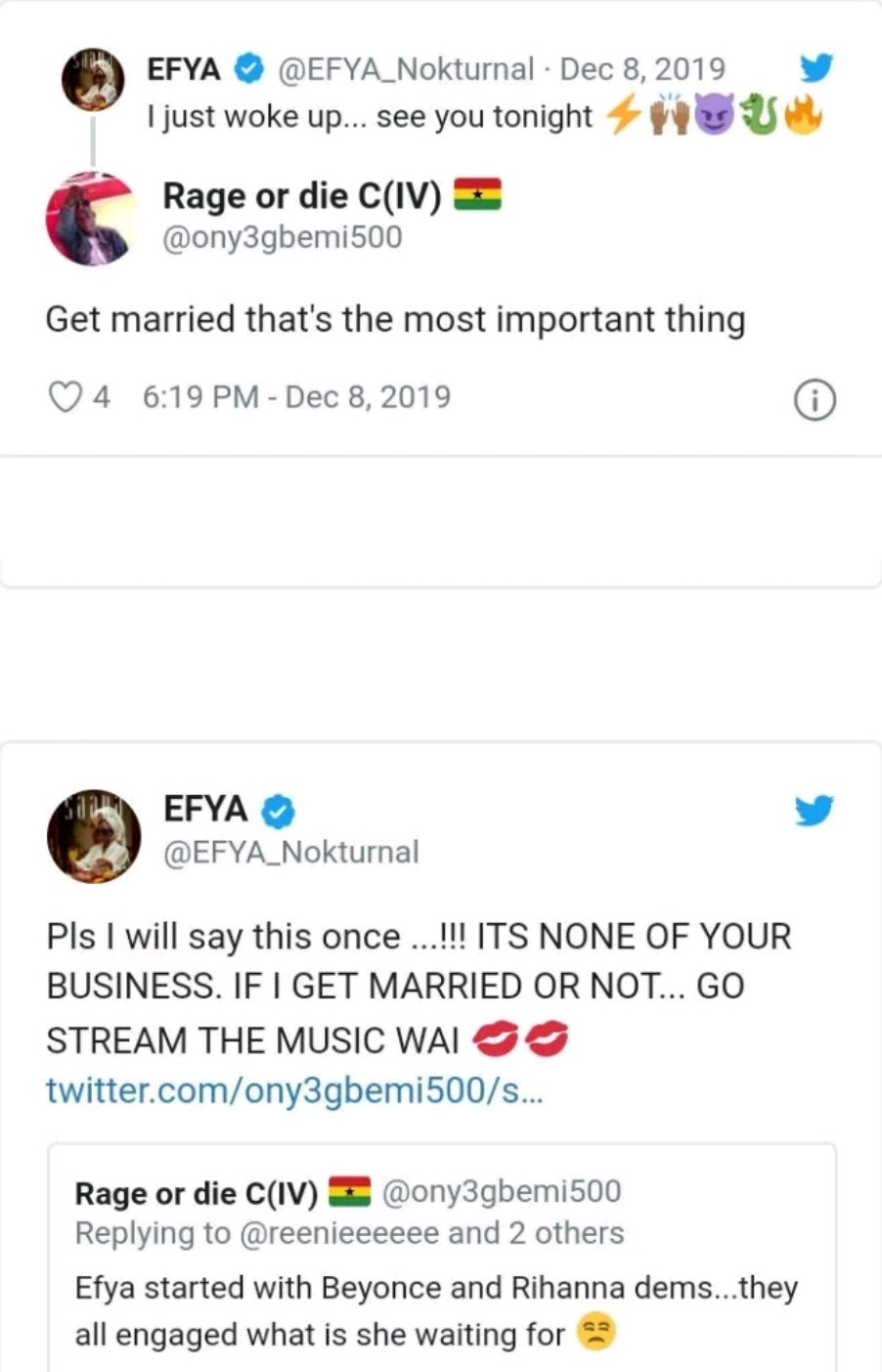 """It's none of your business if I get married or not"" – Efya blasts fan who asked her to get married"