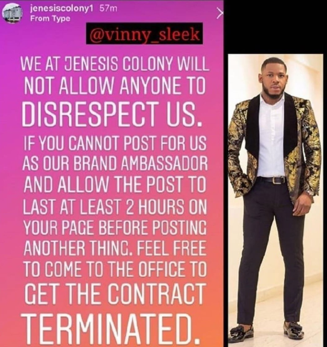 Jenesiscolony calls out Frodd to terminate endorsement deal if he cannot stick to terms and conditions