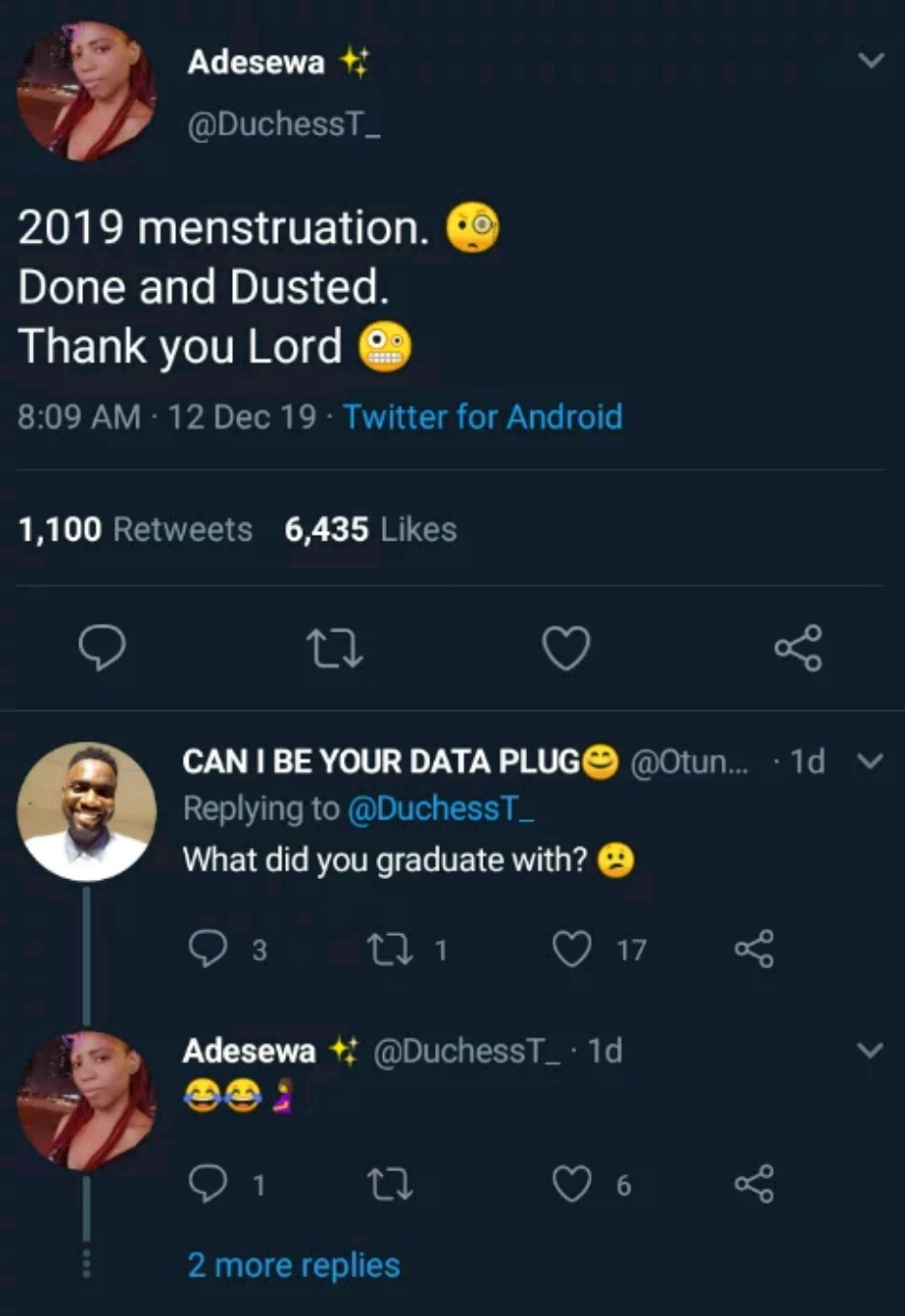 """2019 menstruation done and dusted, Thank you lord"" – Nigerian Lady writes"