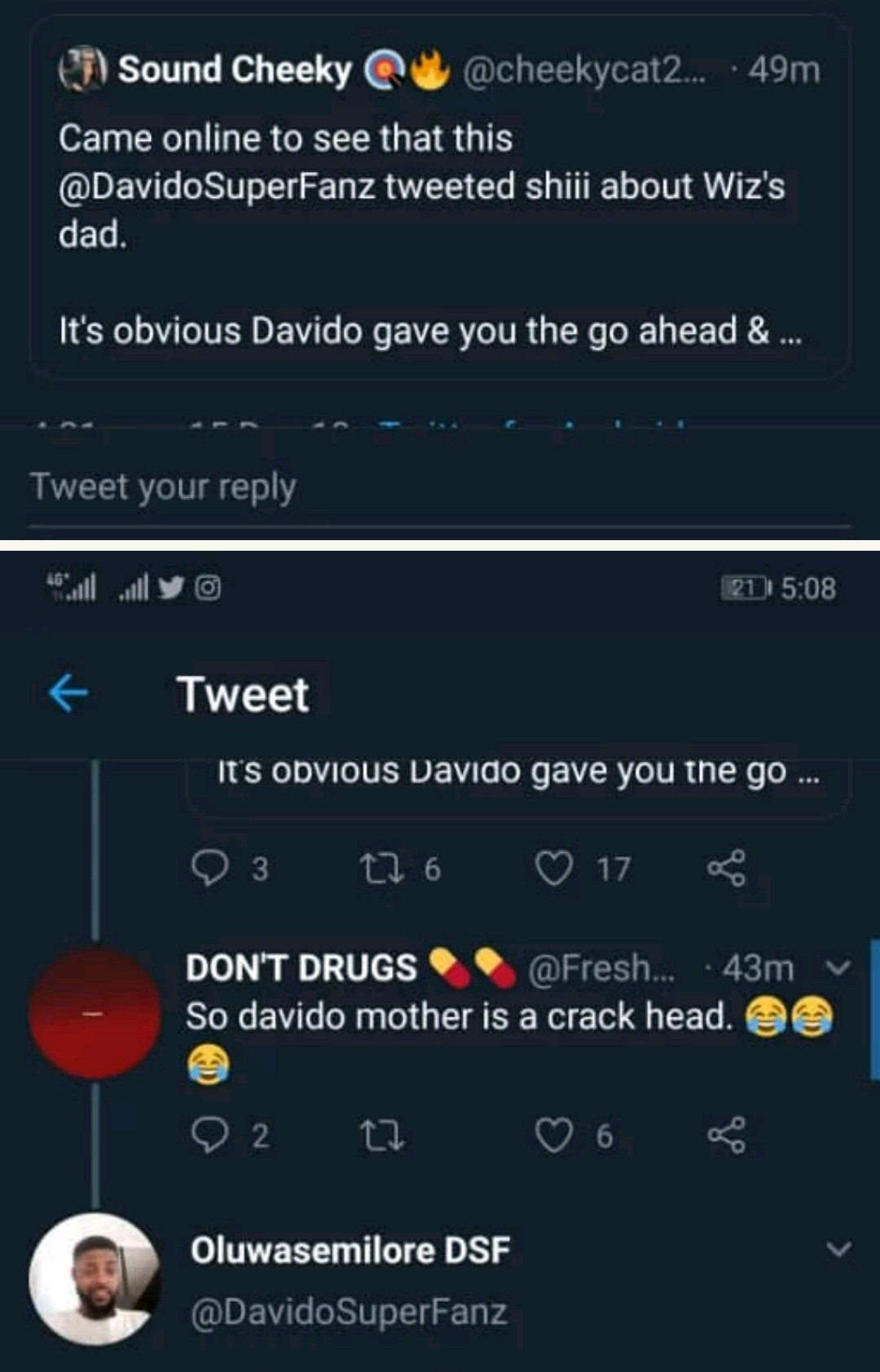 Davido Blasts Wizkid's Fans Who Said His Mother Was Used For Rituals