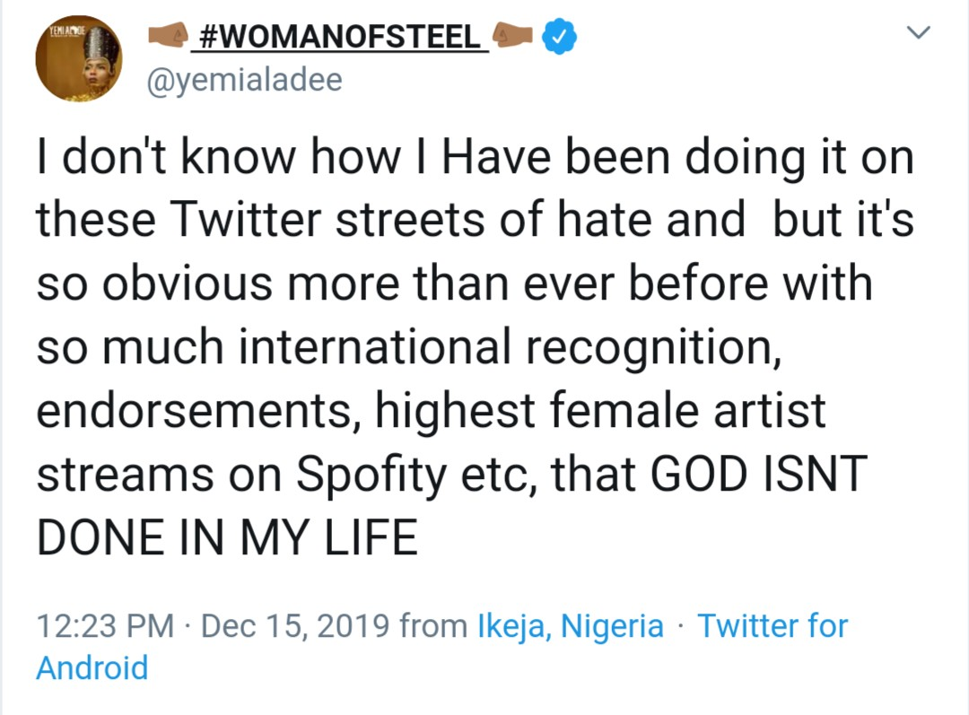 """""""I have the highest female artist streams, so much international recognition""""- Yemi Alade shows gratitude"""