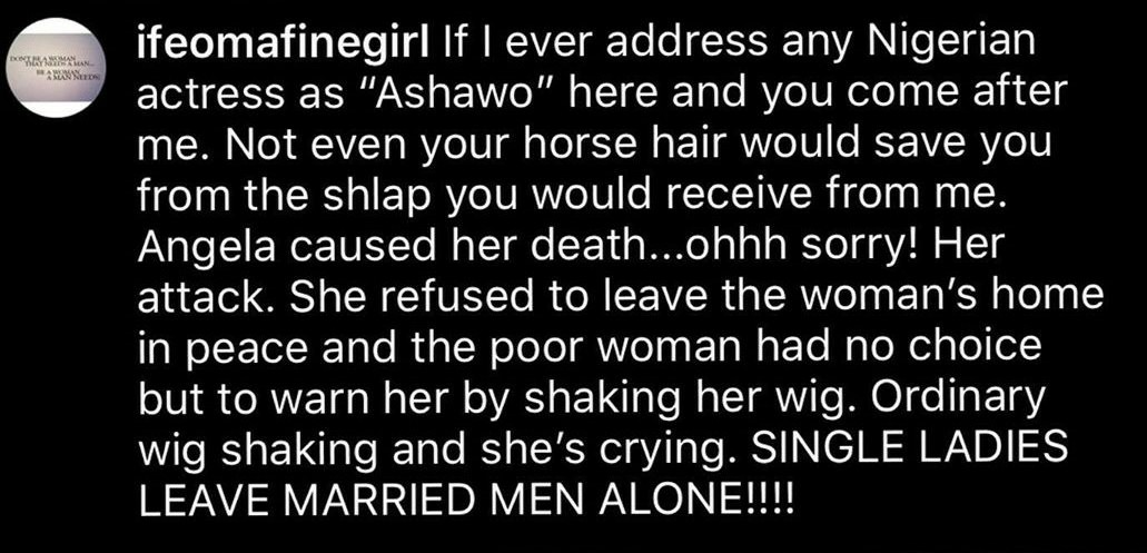 Angela Okorie is sleeping with a man and his wife – Lady claims
