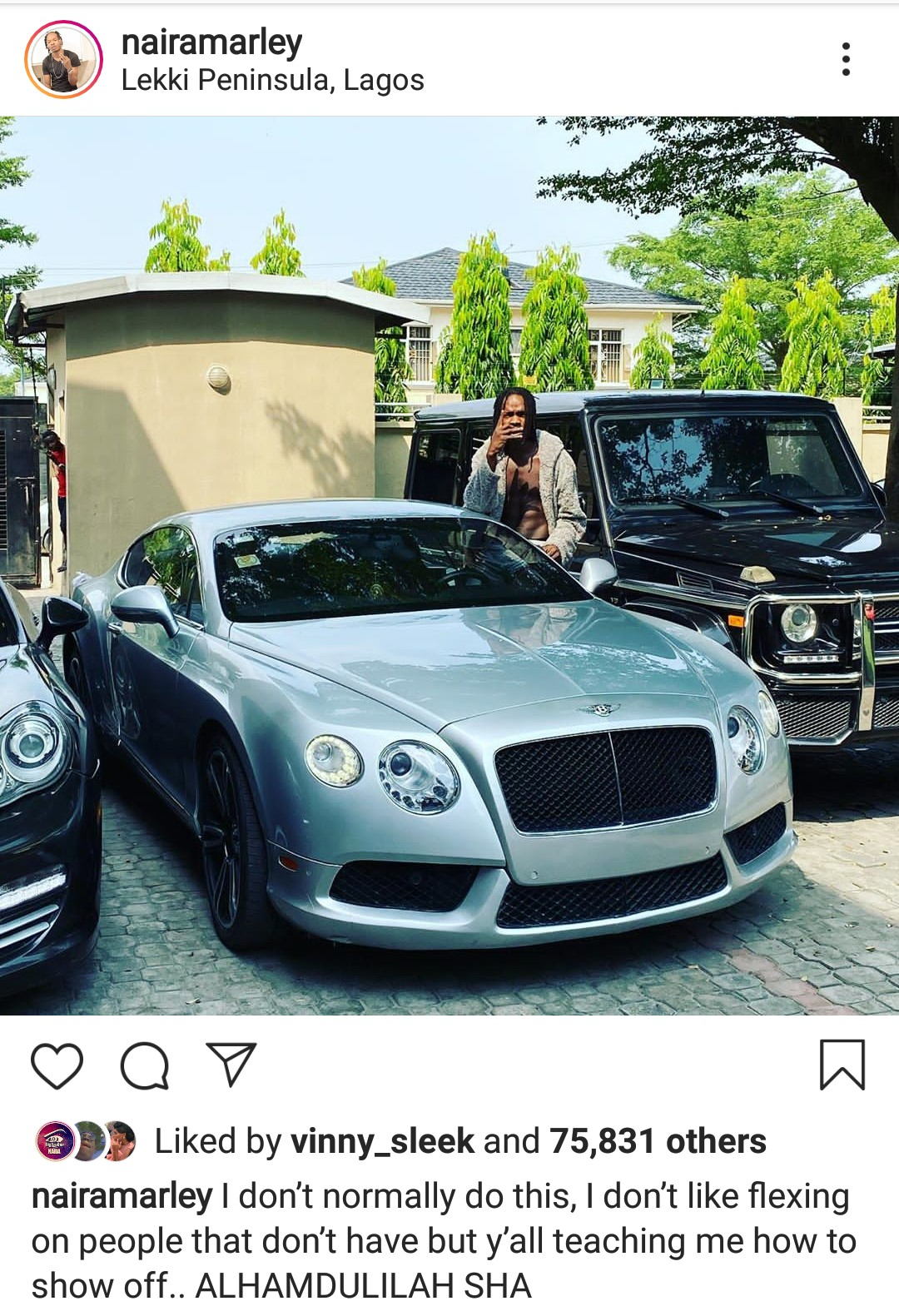 Hours after being dragged for car theft, Naira Marley flaunts his whips