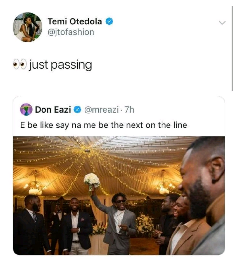 Temi Otedola reacts as her lover, Mr Eazi says his wedding might be the next in line
