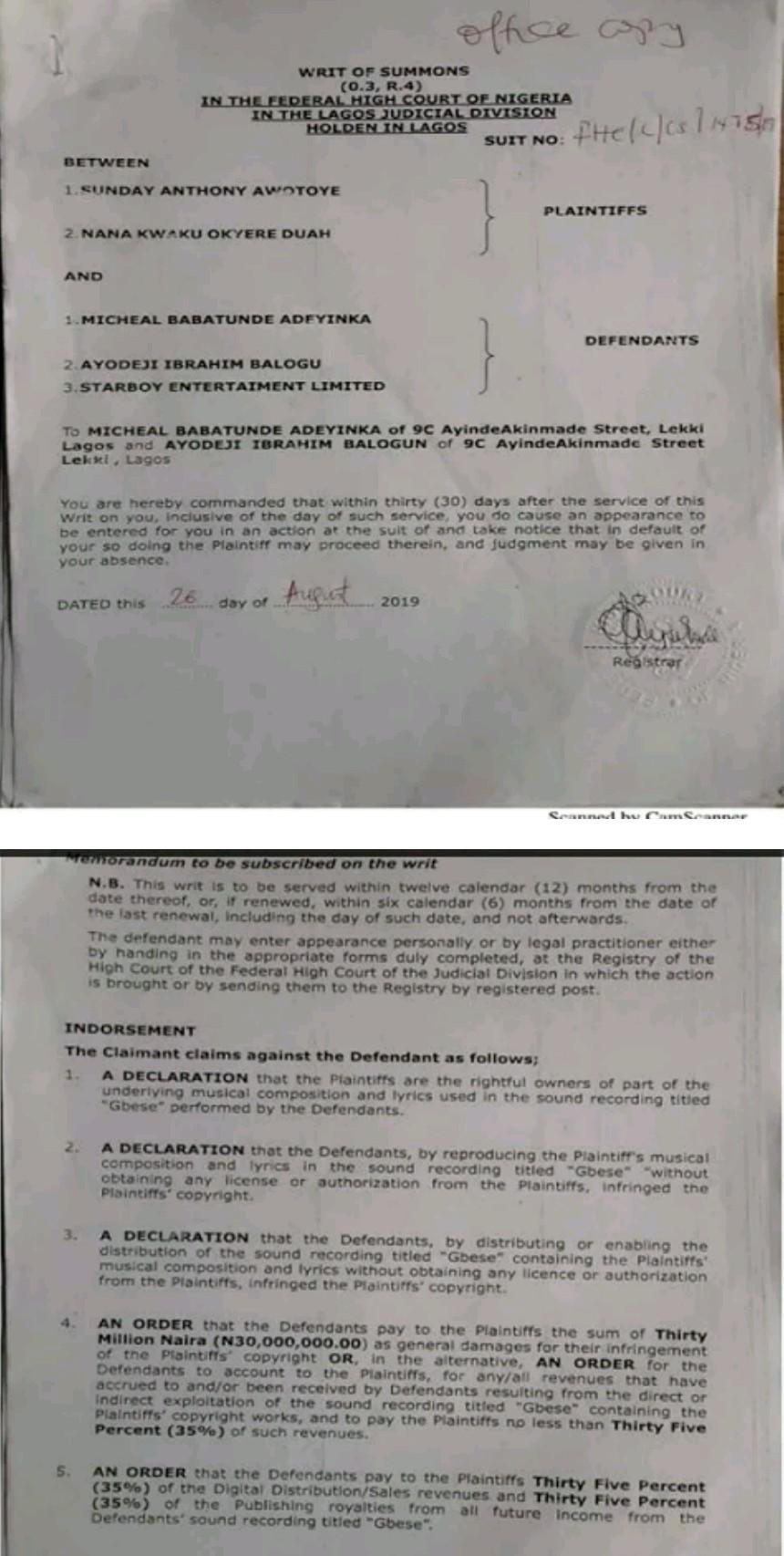 Rapper Tic Tac and Tony Tetuila file N30m lawsuit against Wizkid over copyright infringement