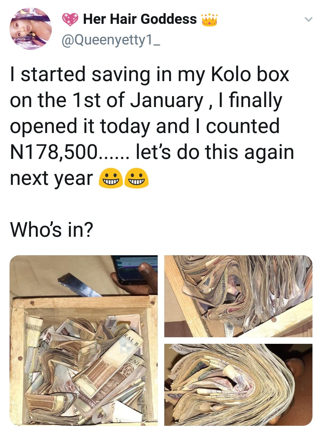 Nigerian Lady shows off N178k she saved in a wooden Saving Box