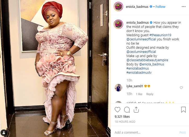 Eniola Badmus shades Omotola Ekeinde as she makes grand entrance at a wedding