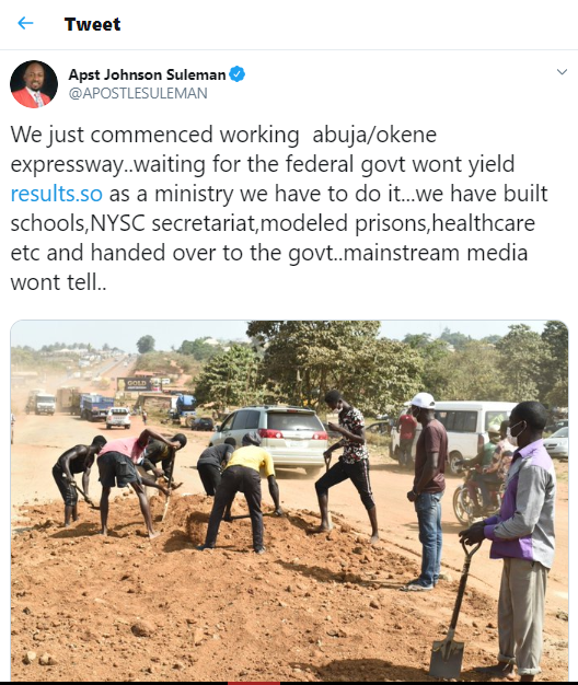 Apostle Suleman starts work on Abuja/Okene Express way