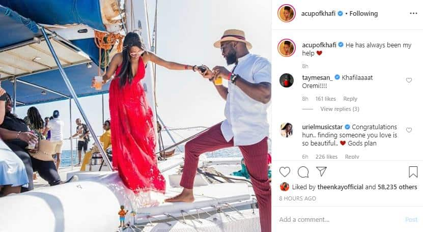 'He has always been my help' – Khafi says as she shares new photo with her fiance Gedoni