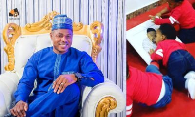 Yinka Ayefele shows off his adorable triplets (Video)