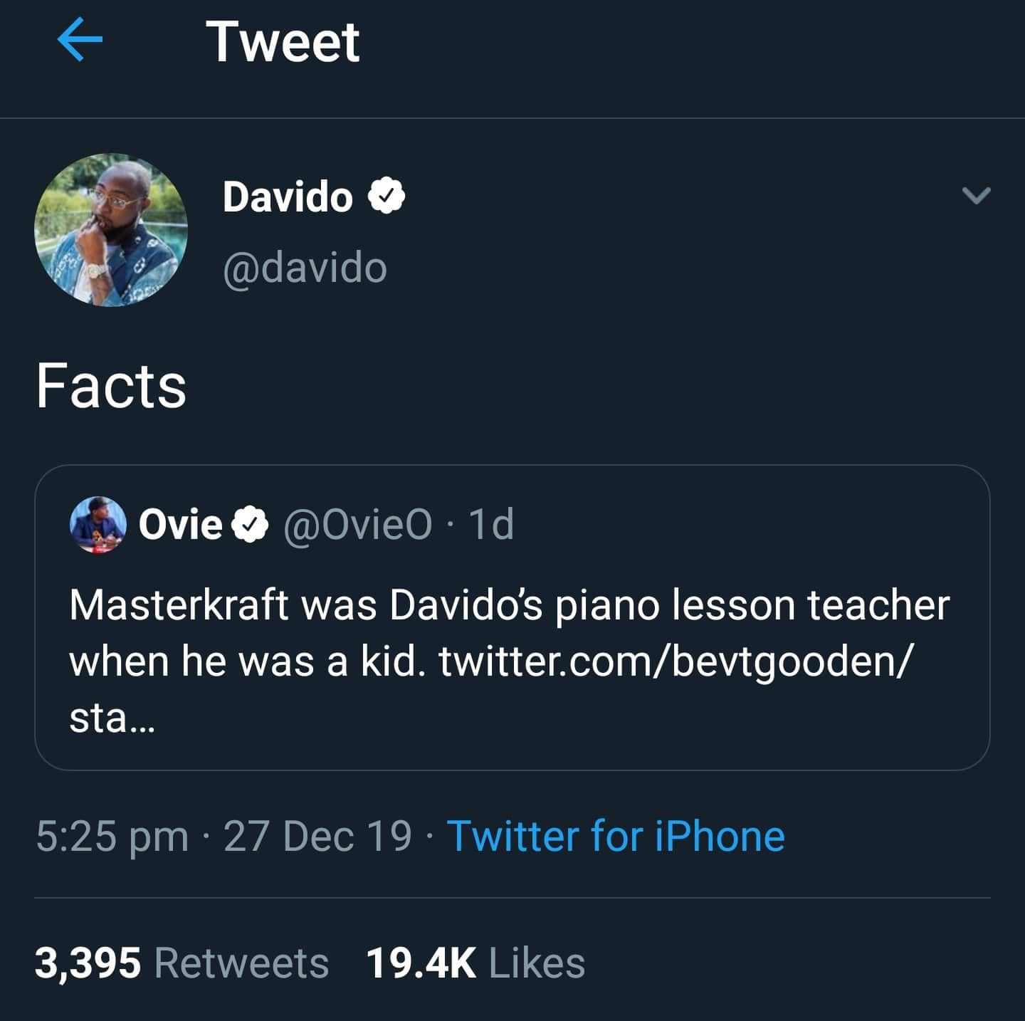 Davido confirms that Masterkraft was his piano teacher when he was a kid