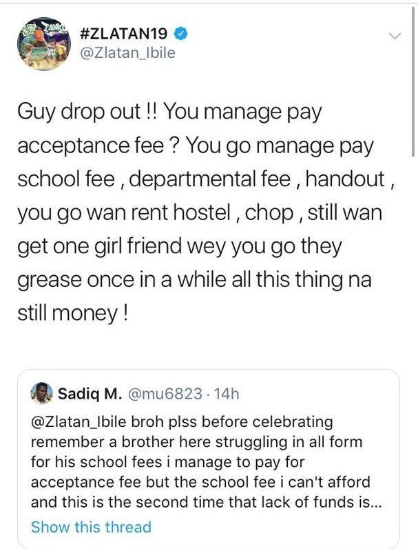 Zlatan Ibile replies another fan who begged him for money to pay his school fees