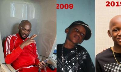 2baba shares epic throwback photos to celebrate his son Nino Idibia as he clocks 14