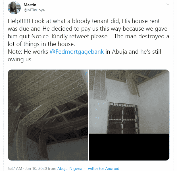 Tenant who defaulted on his rent, destroys landlord's property after being issued a quit notice