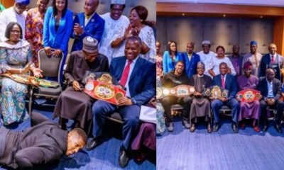 Anthony Joshua prostrates as he presents Heavyweight Titles to Buhari (Photos)