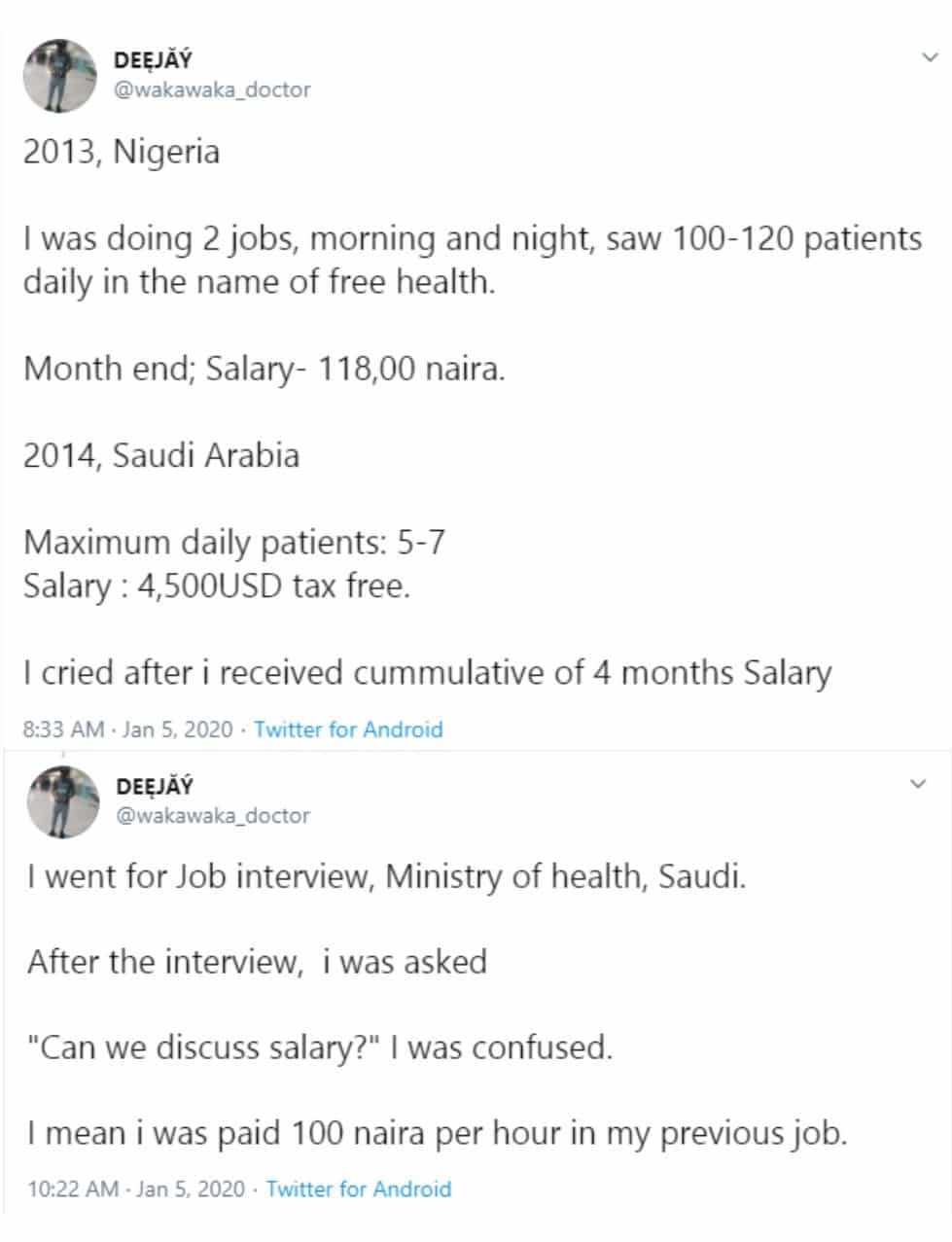 """""""I cried after I received my salary in Saudi Arabia"""" – Nigerian doctor writes after relocating from Nigeria"""