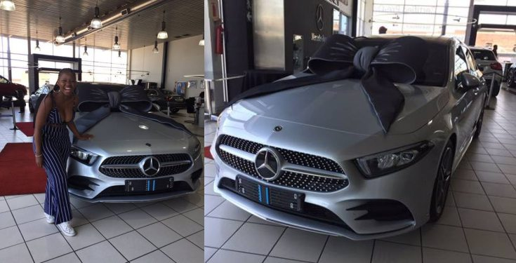 Lady excited as she gets a brand new Mercedes Benz gift from her mother (photos)