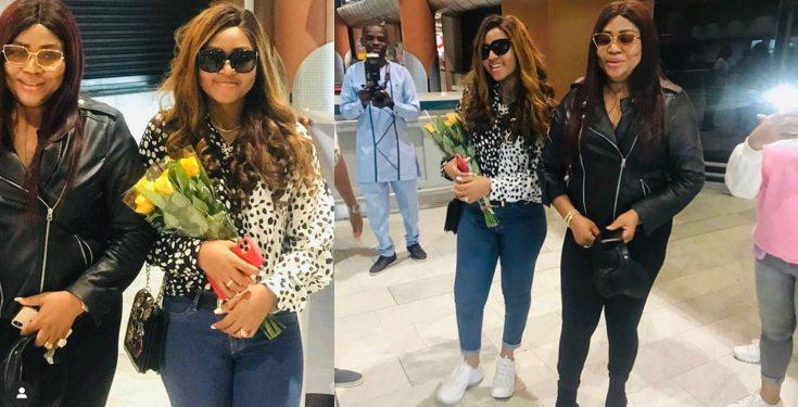 Rita Daniels arrives Cape Town in style with daughter Regina Daniels