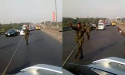 'They can't do anything' - Nigerian cadets say as they cause traffic jam on expressway (video)