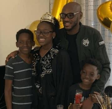 2Face Idibia appreciates baby mama Pero Adeniyi as their 1st daughter heads to high school [Photo]
