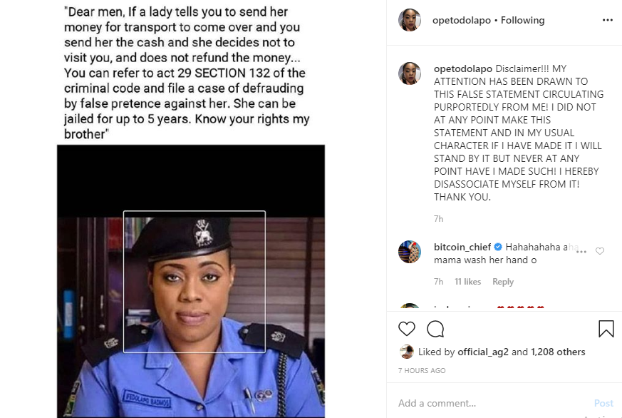 Dolapo Badmus denies saying men can sue women who refuse to come to their house after sending transport fare