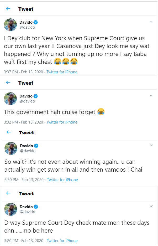 Davido reacts to Supreme court sacking of Bayelsa governor-elect David Lyon