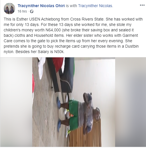 Househelp runs into toilet with knife after being caught stealing from a family in Lagos (videos)_3